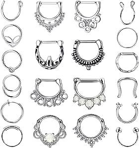 Adramata 20PCS 16G Acciaio Inossidabile Anelli di Naso a Cerchio del Setto Ferro di Cavallo Labbro Tragus Cartilage Ring Septum Clicker Gioielli per Body Piercing per Donna Uomo