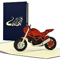 Biglietto di compleanno per moto, pop-up in 3D, idea regalo per motociclisti, biglietto di auguri o buono per patente di…