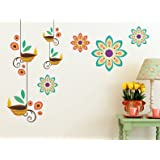 Prodecals Wall Sticker for Living Room Modern Hanging Art Deeps with Flowers (Wall Covering Area : 90 X 65 cms…