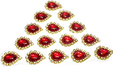 Goelx Patches Colorful Drop Shape Handmade Appliques Rhinestone Embellishments For Decoration, Crafts Ideas, Jewelery Making, Easy to Use Pack of 50