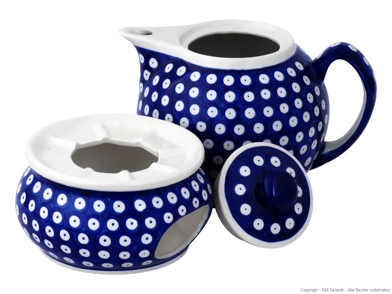 Boleslawiec Pottery Teapot 1.0 L with Warmer, Original Bunzlauer Keramik, Decor 42