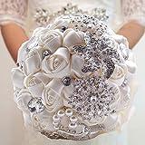 Fouriding Handgemachte Brosche Brautstrauß Braut Satin Rosen Blumen Strass Perlen Blumensträusse Hochzeit Strauß Künstliche B