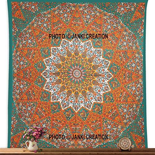 Grün Orange Star indische Hippie Bohemian Mandala Tapisserie, 85x 95Wandteppichen Wandteppich, traditionelle Psychedelic, Schlafsaal, Decor Mandala Tapisserie Beach Tabelle, Indian Bohemian Wand
