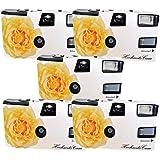 """5X Photo PORST Hochzeitskamera/Einwegkamera""""Gelbe Hochzeitsrose"""" (mit Blitzlicht und Batterien, je 27 Fotos, ISO 400 Fuji)"""