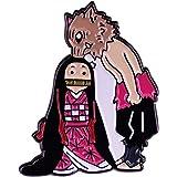 Shonen Manga Demon Slayer Blade Spilla Bocca Hira Inosuke e Kamen Nidouzi Badge Cartone Animato