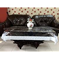 Kuber Industries PVC 4 Seater Transparent Centre Table Cover - White
