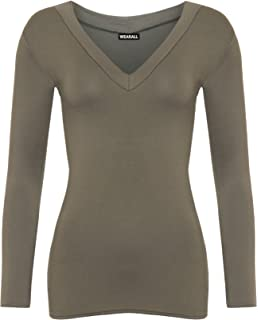 fa88655ab99c T Shirt Manche Longue Femme Tee Shirt Manches Longues Col V Imprimé ...