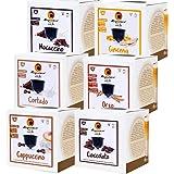 MAGAZZINI DEL CAFFE Box Degustazione da 96 Capsule, Astucci da 16 Capsule Miscele Orzo, Cappuccino, Cortado, Mocaccino e Cioc