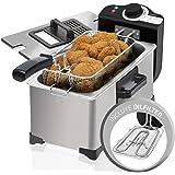 Cecotec Friteuse Électrique CleanFry 3 L Full Inox. 3 L, Jusqu'à 190 ºC, Cuve Émaillée qui convient au Lave-vaisselle , Filtr