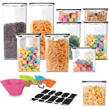 WayEee Vorratsdosen 10 Set Müslidosen Aufbewahrungsbox Küche mit Messlöffel Vorratsbehälter BPA-frei Plastik Frischhaltedosen