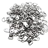 MZMing [120 Pack] D-Ring Photo Frame Hanging Hangers Picture Frame Hooks Metal Single Hole D-Ring Hanger with Screws Canvas H