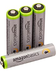 AmazonBasics 4 Pack AAA Ni-MH High Capacity Pre-Charged Rechargeable Batteries Typical 850mAh, Minimum 800mAh - Packaging May Vary