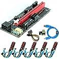 Ubit 6 Pack PCI-E Riser Express Cable 16X à 1X (Dual-6pin / MOLEX) avec Extension Graphique LED Ethereum ETH Mining Powered R