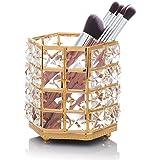 WolinTek Jarr/ón Organizador para brochas de Maquillaje Oro Organizador De Maquillaje Cosm/ético Almacenamiento Organizador de Cristal