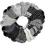 AMILE 12 Paar Baby Socken Jungen und Mädchen Anti-Rutsch-Baumwolle Sock Set, warme und bequeme Baby Socken, 10-24 Monate Licht Farben Socken, 36/40