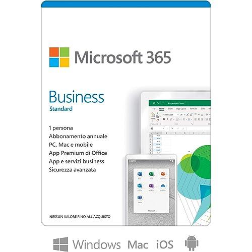 Microsoft 365 Business Standard | per 1 persona | fino a 5 PC/Mac + 5 dispositivi mobili + 5 tablets | 1 abbonamento annuale | scatola