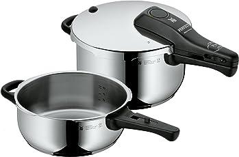 WMF Perfect Schnellkochtopf Set 2-teilig 4,5l & 3,0l, Cromargan Edelstahl poliert, 2 Kochstufen Einhand-Kochstufenregler, induktionsgeeignet, spülmaschinengeeignet, Ø 22 cm