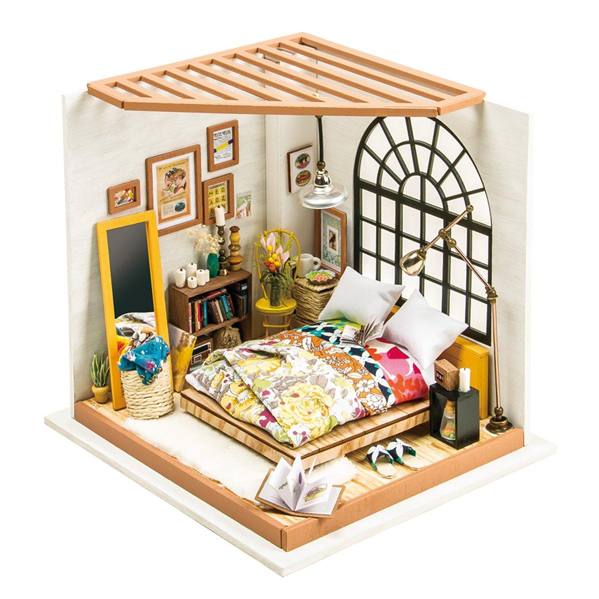 Dettagli su Robotime Camera da letto in legno - Dolls House Furniture e  accessori - (R8C)