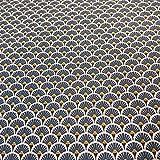 Stoff Meterware Baumwolle indigo blau Kreis Fächer