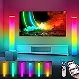 2 Stück Stehlampe Wohnzimmer Dimmbare, RGB Fernbedienung Farbwechsel Standlampe, 104CM, USB, LED Lichtsäule Stehleuchte, APP