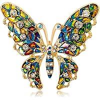 Hacoly Cristallo Farfalla Brooch Spilla di Strass Annata Elegante Design Vintage Lady Brooch Donna 3cm x 4cm