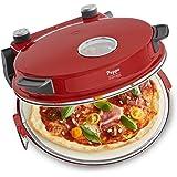 Pizzaofen Peppo 1200W   Pizzamaker   Minibackofen elektrisch für Pizza & Brot 350°C, Timer & Signallampe, inkl. Emaille-Bratpfanne & 2 großen Pizzawendern + Gratis Rezept (PDF) - rot