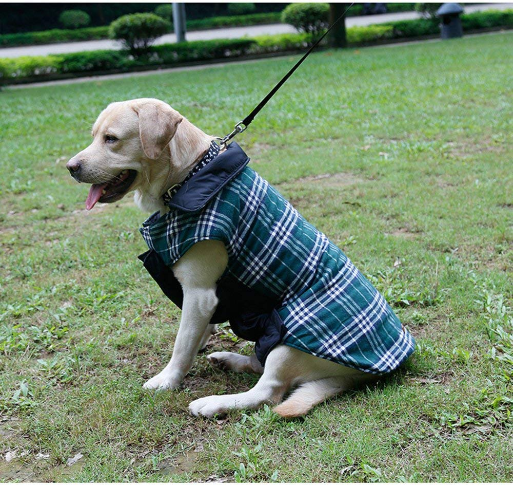 Morezi Cozy Waterproof Windproof Reversible British style Plaid Dog Vest Winter Coat Warm Dog Apparel for Cold Weather Dog Jacket for Double sided available 5