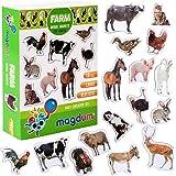 MAGDUM Imanes nevera niños Animales Granja - 16 Grandes imanes bebes - Montessori bebe - Animales de juguete - Juguetes bebes