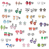 30 Paar Ohrstecker aus Edelstahl - Süßes Tier - Herzform - Roségold, Weiße, Golde Perle - Ohrringe Set für Kleine Mädchen