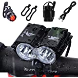 Nestling® 5000Lm 2x Cree XML U2 LED Bike Bicycle Cycling Light Headlamp Headlight Front Head Torch 4x18650 Battery Pack Rechargeable USB Charger + Rear Tail Safty Flashing Light