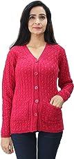 Matelco Women's Magenta Woollen V-Neck Cardigan with Pockets