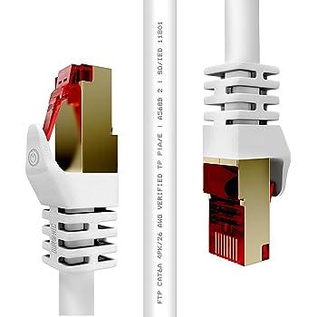 Duronic CAT6a /0.5 blanc - Câbles Ethernet RJ45 CAT6a de 0,5m 500MHz - Connecteurs en plaqué Or – Idéal pour Modem, Box, ADSL, LAN, Console de jeux vidéo