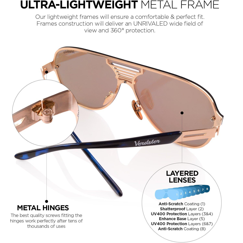 db40280507 Verdster Gafas De Sol De Aviador Oversize Hombre TourDePro – Aptos para  Conducir ...