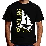 Velocitee Premium Mens T-Shirt Sailing Rocks Sailor Holiday V220