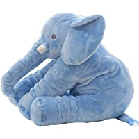 Sana Animal Elephant Soft Toy Cushion Pillow Cover for Baby Safety (Size_21x14x10 cm) (Blue)