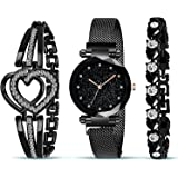 The Shopoholic Branded Analogue Diamond Black Dial Magnet Watch with Gift Bracelet for Women Or Girls and Watch for Girl or W