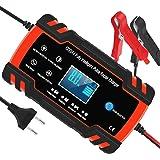 Chargeur de Batterie pour Voiture et Moto Intelligent 8A 12V/24V, Mainteneur de Chargeur Batterie Voiture, 3 Étapes de Charge