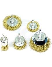 Khadija Wire Brass Brush Multipurpose Set to Remove Paint, Dust, Dirt, Medium (Golden) - Set of 5