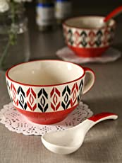 KITTENS Handpainted CeramicSoup Bowl with Spoon, 300ml(Red)- Set of 2