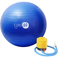 EURODO Yoga Ball with Quick Pump, Anti-Burst for Balance, Gym, Pilates, Fitness, Exercise, Pregnancy and Labour