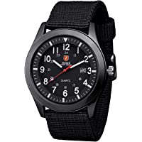 Zeiger Military Mens Watches Analogue Quartz Date Watch for Man Nylon Band Sport Wristwatch with High Quality Watch Box
