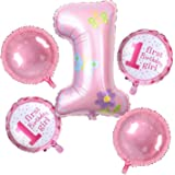 AMFIN Foil Balloons for First Birthday Decoration (Pink) - Pack of 5