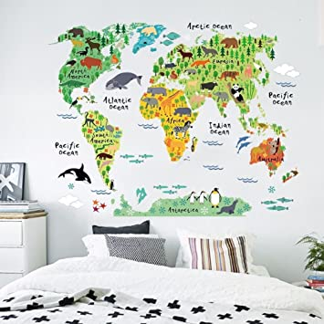 Zooarts Animals World Map Vinyl Mural Wall Sticker Decals For Kids Children  Room Decor: Amazon.co.uk: Kitchen U0026 Home Part 58