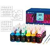 Stofffarben Set 30 Farben 3D Wasserfest Textilfarbe Stoffmalfarben mit Schablonen für Kleidung Glas Textil Stoff Leinwand T-S