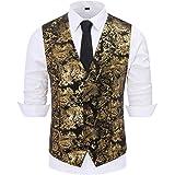 Mens Paisley Jacquard Suit Waistcoat Single Breasted Vest Dress Vest Slim Fit Button Down Prom Formal Suit Vest Waistcoats