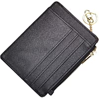 ehsbuy Slim Credit Card Holder Wallet RFID Blocking Leather Zipper Coin Purse Keychain Wallets for Women & Men(Black)