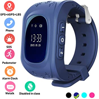 Kids Smartwatch GPS Tracker Anti-Lost Wrist SIM SOS Call Voice Chat Phone Pedometer by Parent Control iOS Android Smartphone App (Palmtalkhome Q50) (Dark ...