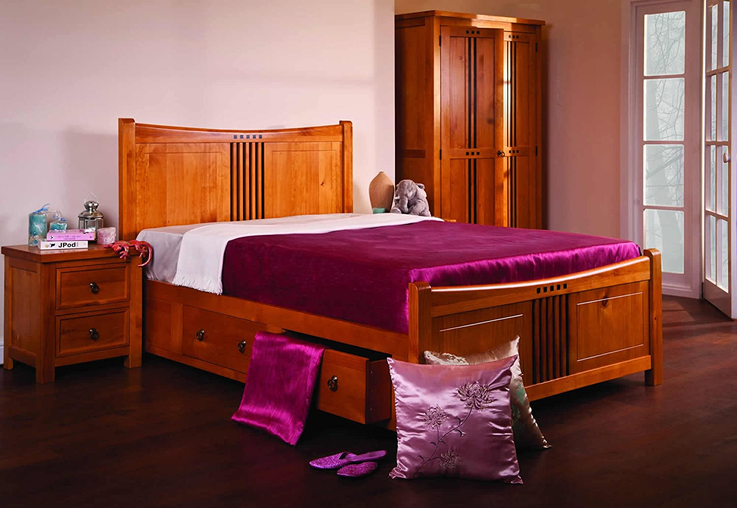 Sweet Dreams Curlew Wild Cherry Wooden Bed 5ft King Size 4 Drawers:  Amazon: Kitchen & Home