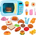 Outgeek Microwave Toys Kitchen Play Set,Kids Pretend Play Electronic Oven with Play Food,Cutting Boards and Plates Toy Set, Cooking Utensils,Great Learning Gifts for Baby Toddlers Girls Boys