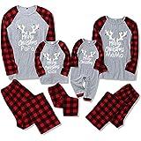DaMohony Set de pijamas familiares a juego - Pijamas de Navidad para toda la familia - Conjunto de pijamas de cuadros